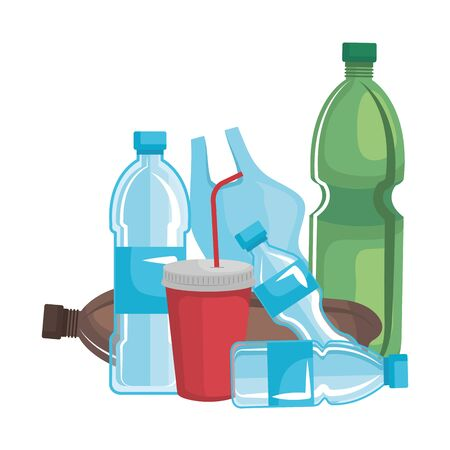 plastic and disposables products garbage vector illustration design