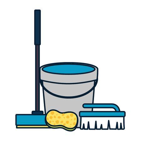 bucket broom sponge brush spring cleaning tools vector illustration Illustration