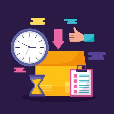 Caja de cartón ok reloj marca de verificación entrega rápida negocio ilustración vectorial Ilustración de vector