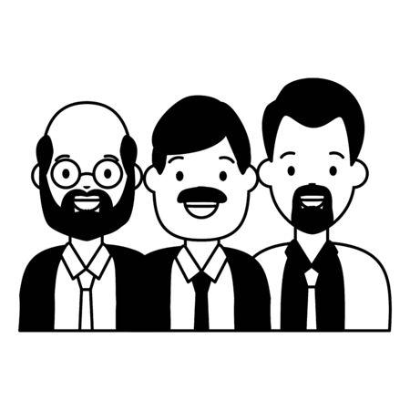 group people men avatars diversity vector illustration