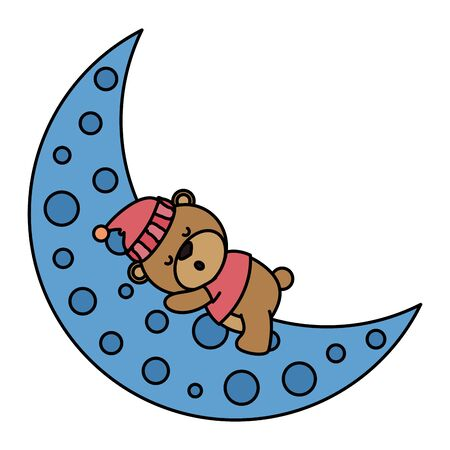 little bear teddy with hat sleeping in moon vector illustration design