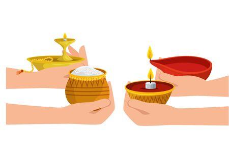 hands lifting candles and food ramadan kareem vector illustration design Illustration
