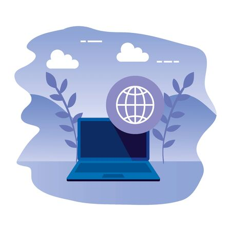 laptop computer with sphere browser vector illustration design  イラスト・ベクター素材