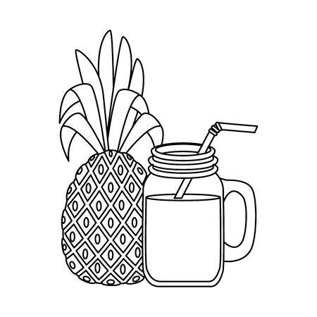 summer fresh fruit pineapple with cocktail vector illustration design
