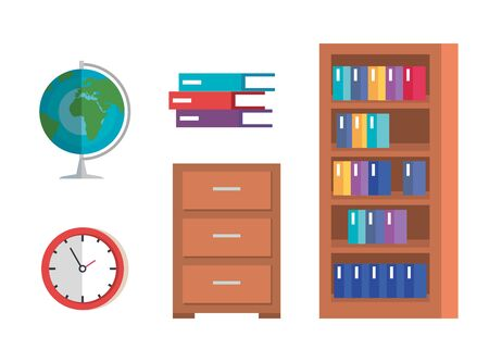set of education academic knowledge in the school classroom over white background vector illustration