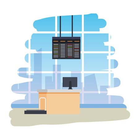 airport checkin place with balance and computer scene vector illustration design