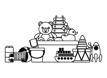 kids toys bucket bear boat ball drum blocks shovel truck rocket duck vector illustration