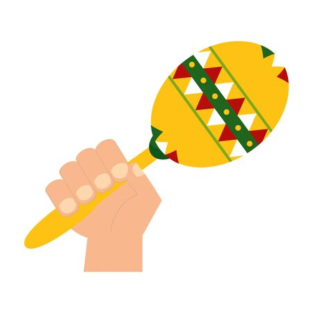 hand with maraca musical instrument vector illustration