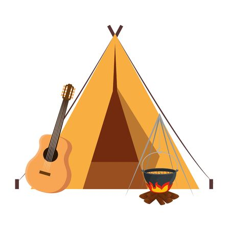 tent camping with guitar and wood fire vector illustration design