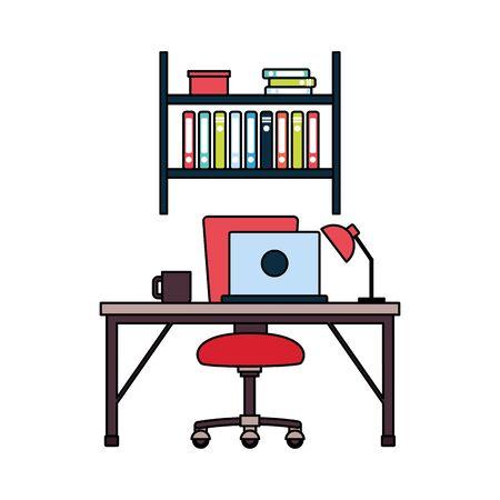 office workplace furniture desk bookshelf vector illustration