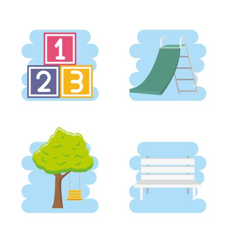 kids zone set numbers cube tree slide bench park vector illustration