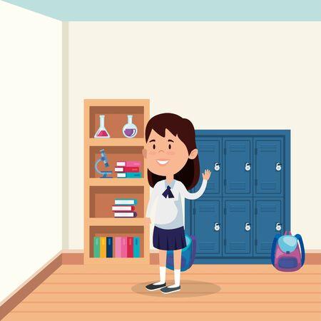 little student girl in the school scene vector illustration design Illustration