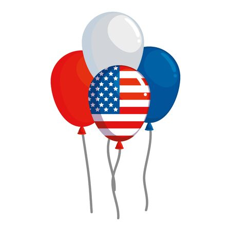 balloons helium floating with united states of america flag vector illustration design