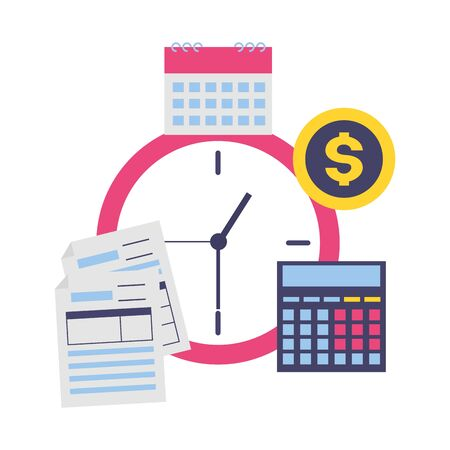 tax payment document clock time vector illustration Иллюстрация