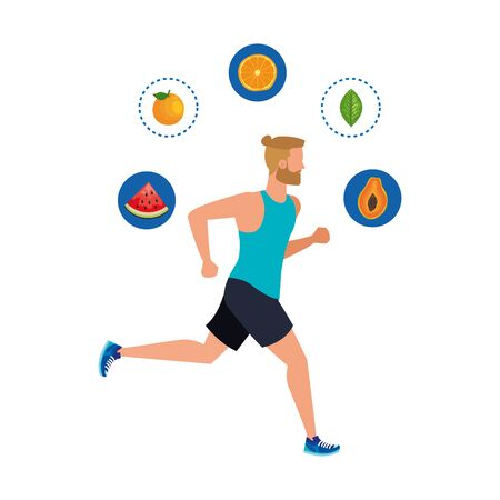 young athletic man running with healthy food vector illustration design Standard-Bild - 129362777