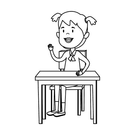 happy student girl seated in school desk vector illustration design