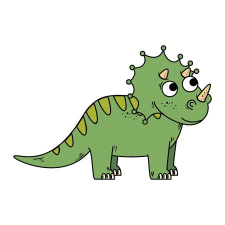 cute triceratops comic character icon vector illustration design
