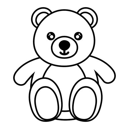 bear kids toy on white background vector illustration Illustration