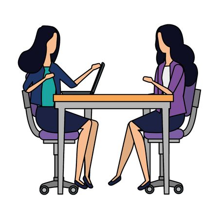elegant businesswomen working with laptop vector illustration design