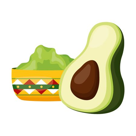 avocado and guacamole sauce in bowl vector illustration Çizim