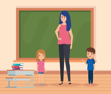 woman teacher with kids in the classroom and blackboard to academic education vector illustration Illustration