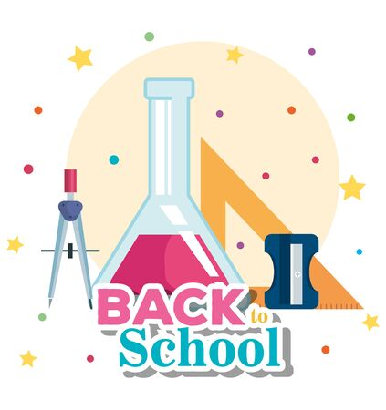 erlenmeyer flask with compass pencil and triangle ruler with sharpener to back to school vector illustration
