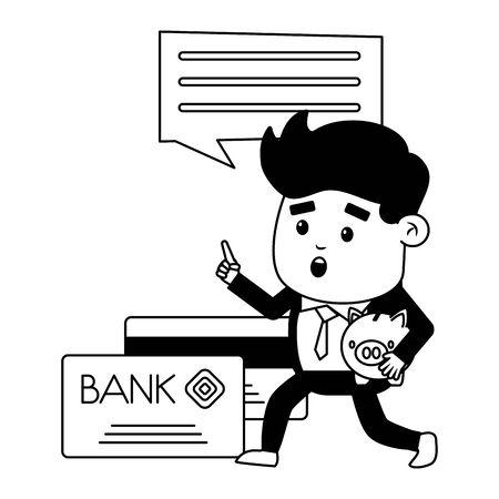 businessman online payment cards piggy bank vector illustration