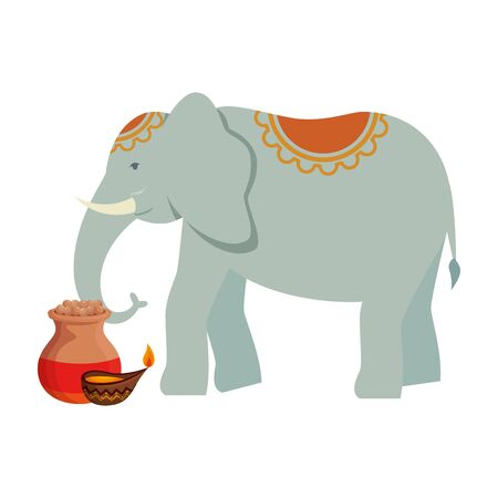 indian elephant with candle and pot ceramic vector illustration design