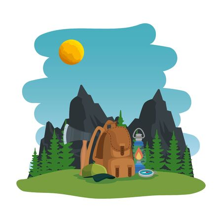 camping zone with equipment scene vector illustration design Ilustração