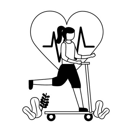 young woman riding skateboard sport activity vector illustration