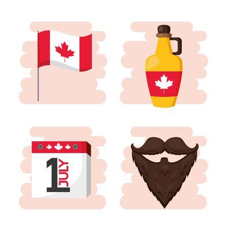 happy canada day set flag calendar syrup vector illustration Ilustracja