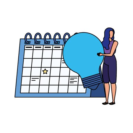 young woman with calendar character vector illustration design Stock Illustratie