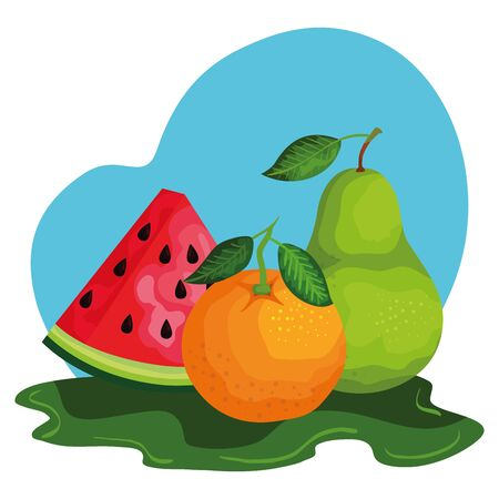 group of fresh fruits nature vector illustration design
