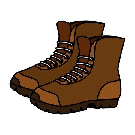 Botas, zapatos, aventura, accesorio, icono, vector, ilustración, diseño