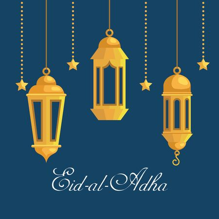 lamps and stars hanging decoration poster to eid al adha, vector illustration