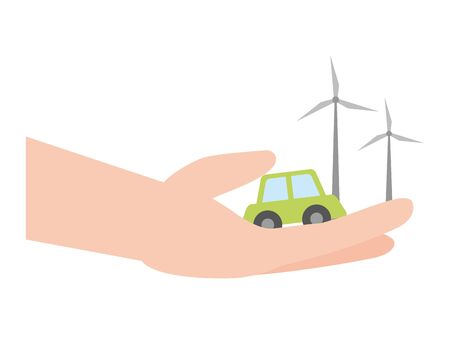 hand with car and wind turbines earth day vector illustration Standard-Bild - 129315489
