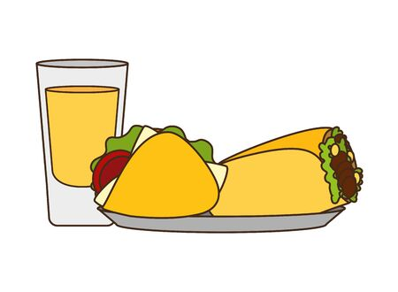 mexican taco burrito tequila delicious vector illustration Archivio Fotografico - 129315520