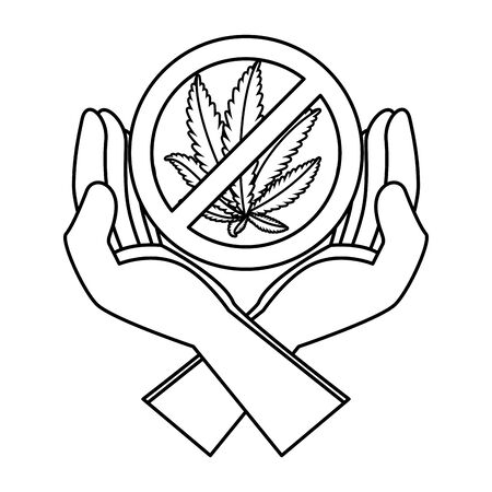 hands protecting cannabis leafs with denied symbol vector illustration design Иллюстрация