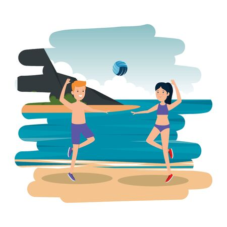 happy athletic couple practicing volleyball on the beach vector illustration design Illustration