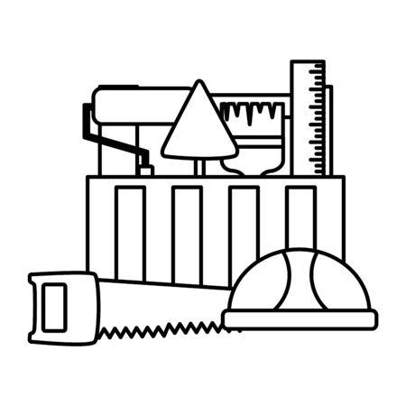 toolbox helmet saw spatula roller construction tool vector illustration Stock Vector - 129315532