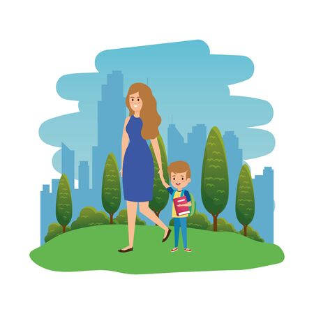happy student boy with female teacher in the landscape vector illustration design