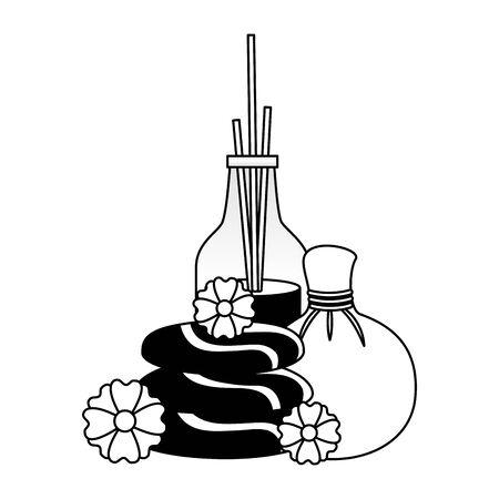aromatherapy sticks hot compress stones flowers spa treatment vector illustration