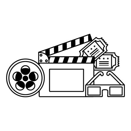 clapboard 3d glasses tickets reel film movie vector illustration