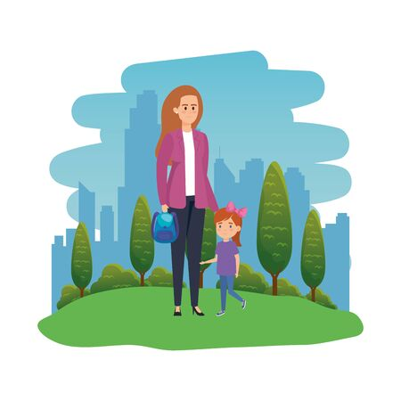 happy student girl with female teacher in the landscape vector illustration design