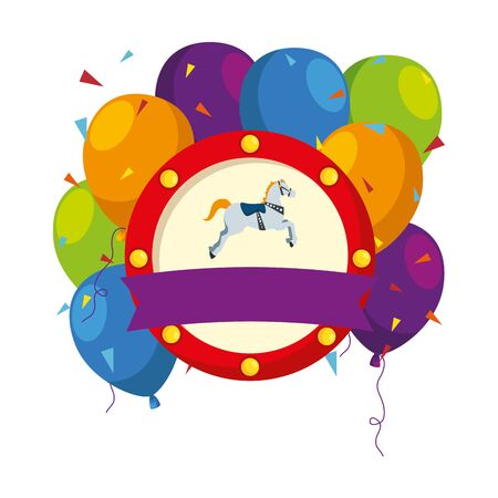 carousel horse carnival with balloons helium emblem vector illustration design Stock Illustratie