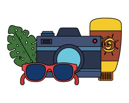 solar blocker bottle with camera and sunglasses vector illustration design