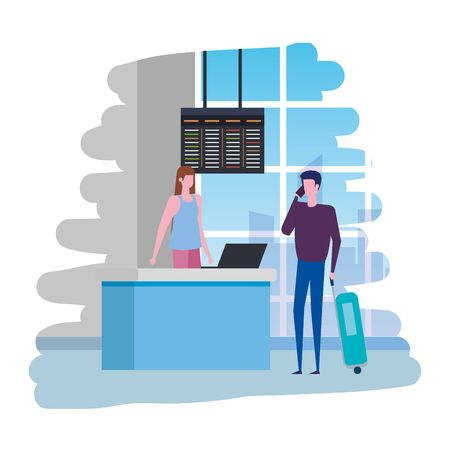 woman working in airport with computer and man traveler vector illustration Banque d'images - 129288394