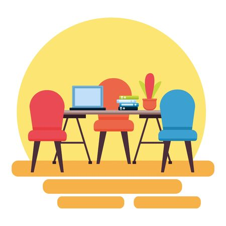 office desk laptop books plant workplace vector illustration Stock Illustratie