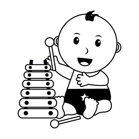 baby boy with xylophone music toys vector illustration Vectores