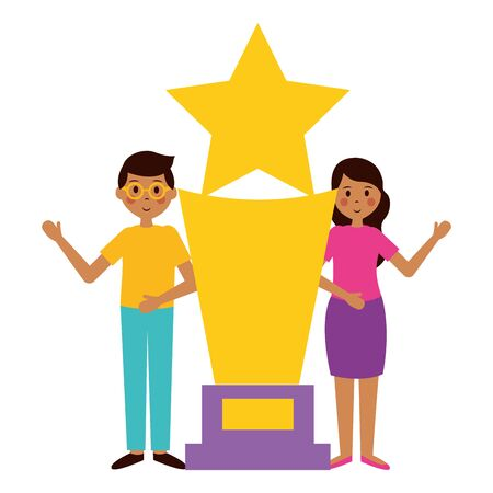 man and woman with award trophy film movie vector illustration
